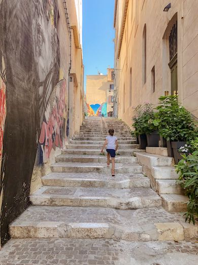 Old stone flight of stairs in historic Le Panier Marseille France