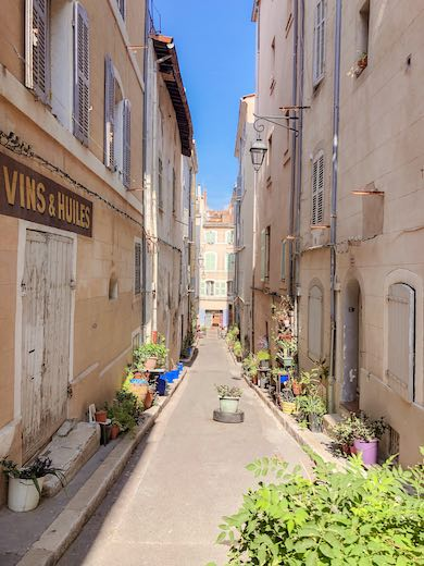 Charming alley with plants in Le Panier Marseille