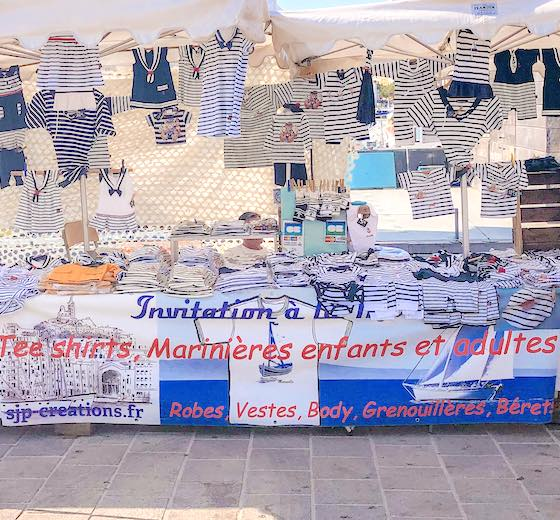 Assortment of navy clothes at the Old Port Marseille France