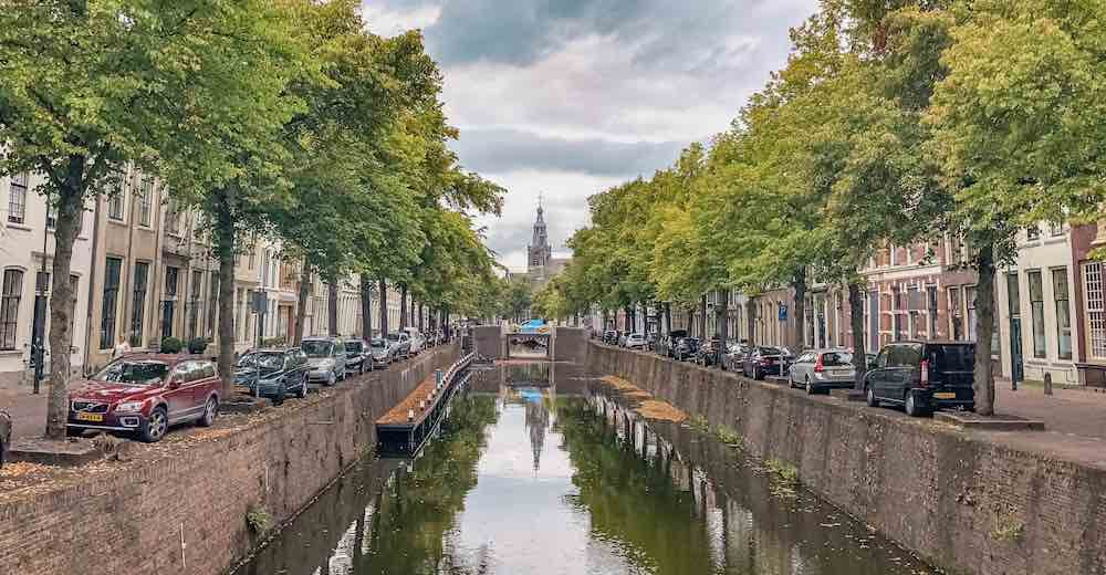Canal view of Gouda in The Netherlands