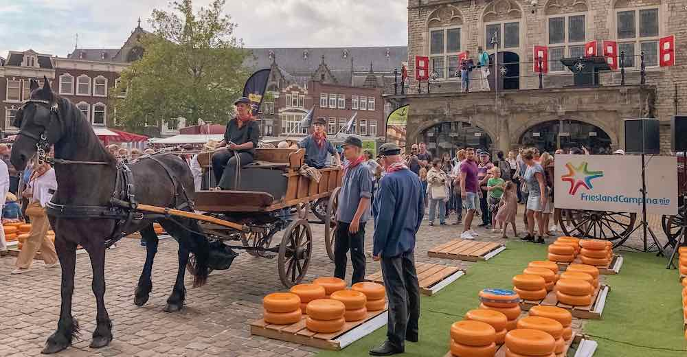 Farmers bring their cheese to Gouda cheese market by horse and carriage in Gouda Netherlands