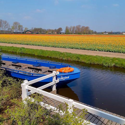 Whisper boat in the Keukenhof flower garden near Amsterdam