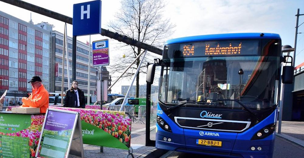 Buy Keukenhof tickets online with bus are organized from different Dutch cities such as this Keukenhof Express line at Leiden station