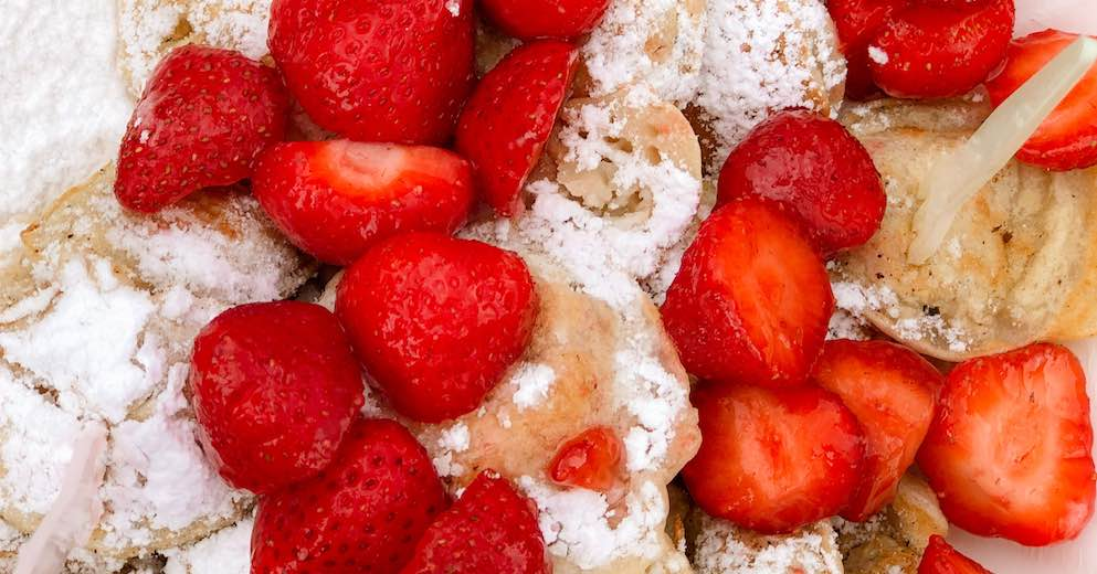 Poffertjes with strawberries at the Keukenhof Gardens Netherlands