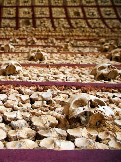 Skulls in the Chapel of Bones in Algarve Faro