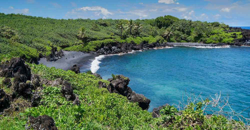 Honokalani beach in Waianapanapa State Park, there are no other black sand beaches in Maui