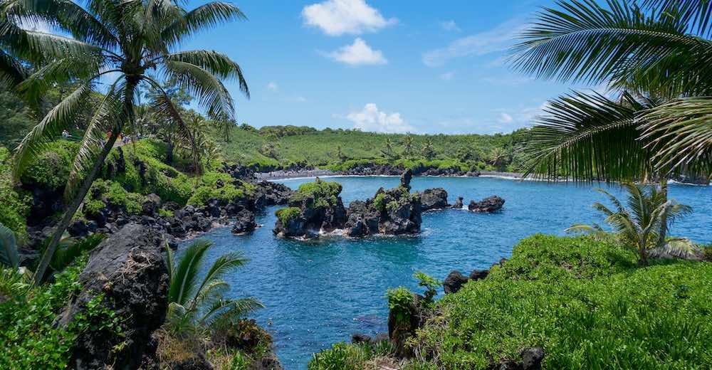 Honokalani black sand beach Maui