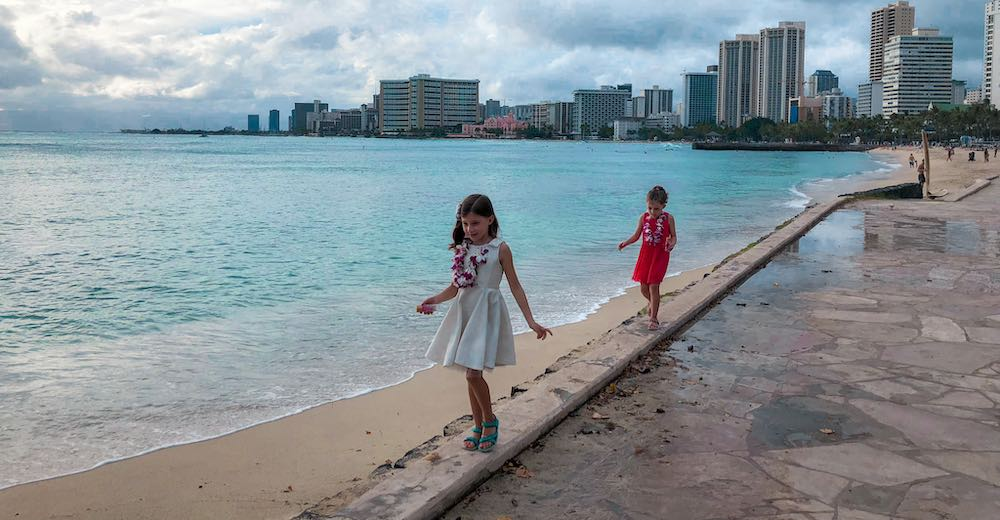 Two girls exploring the coast of Honolulu