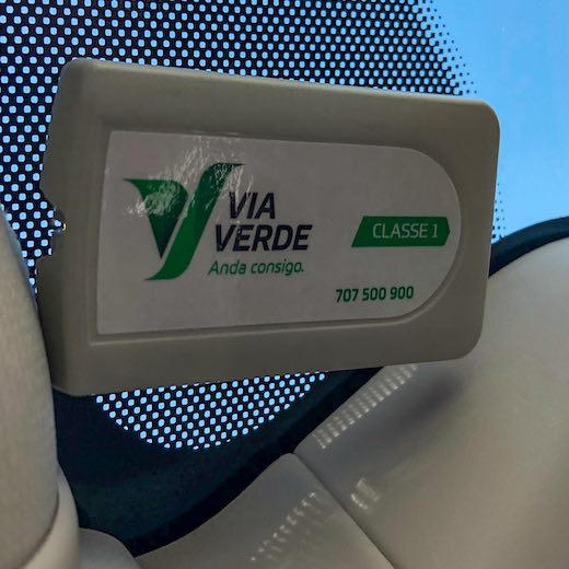 Transponder in the car for toll payments when driving in Portugal