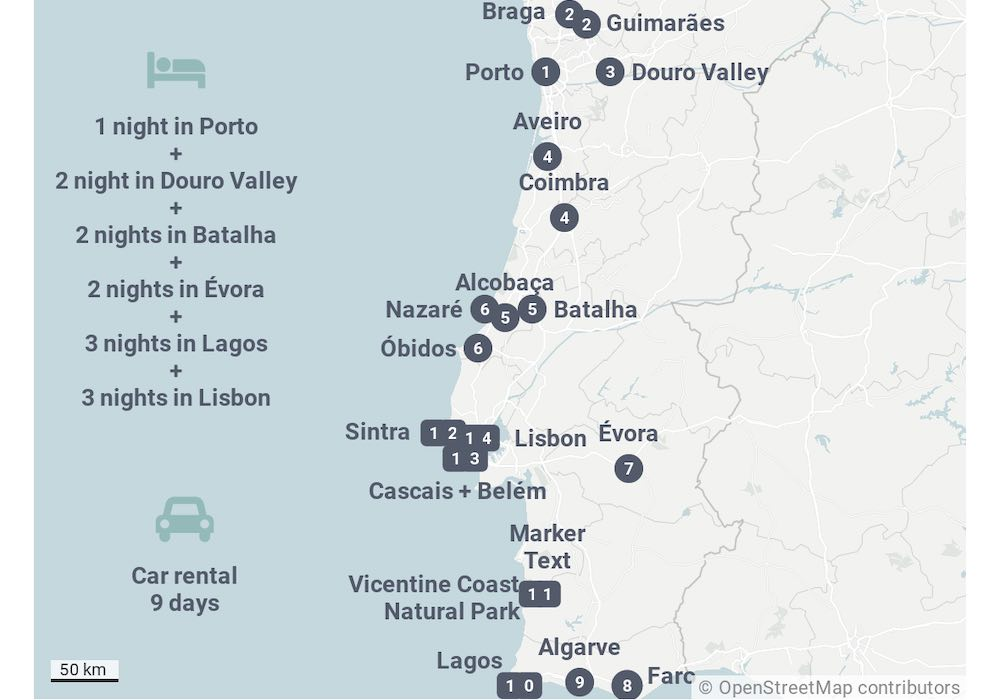 Portugal map showing the 14 day Portugal itinerary suggestion