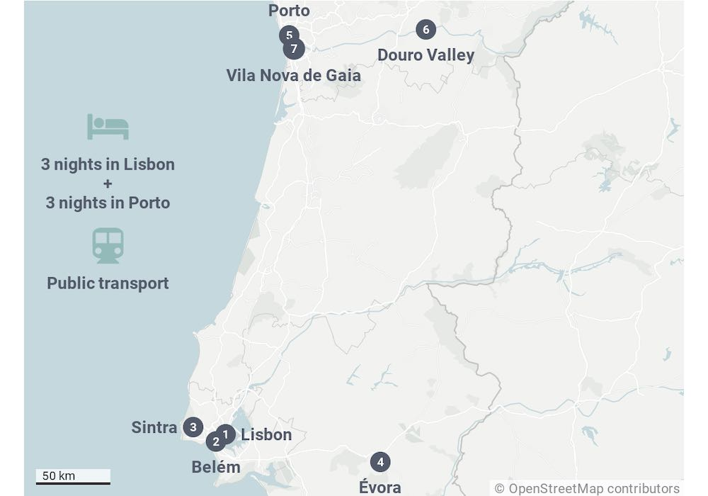 Portugal map showing the 7 day Portugal itinerary to Porto and Lisbon