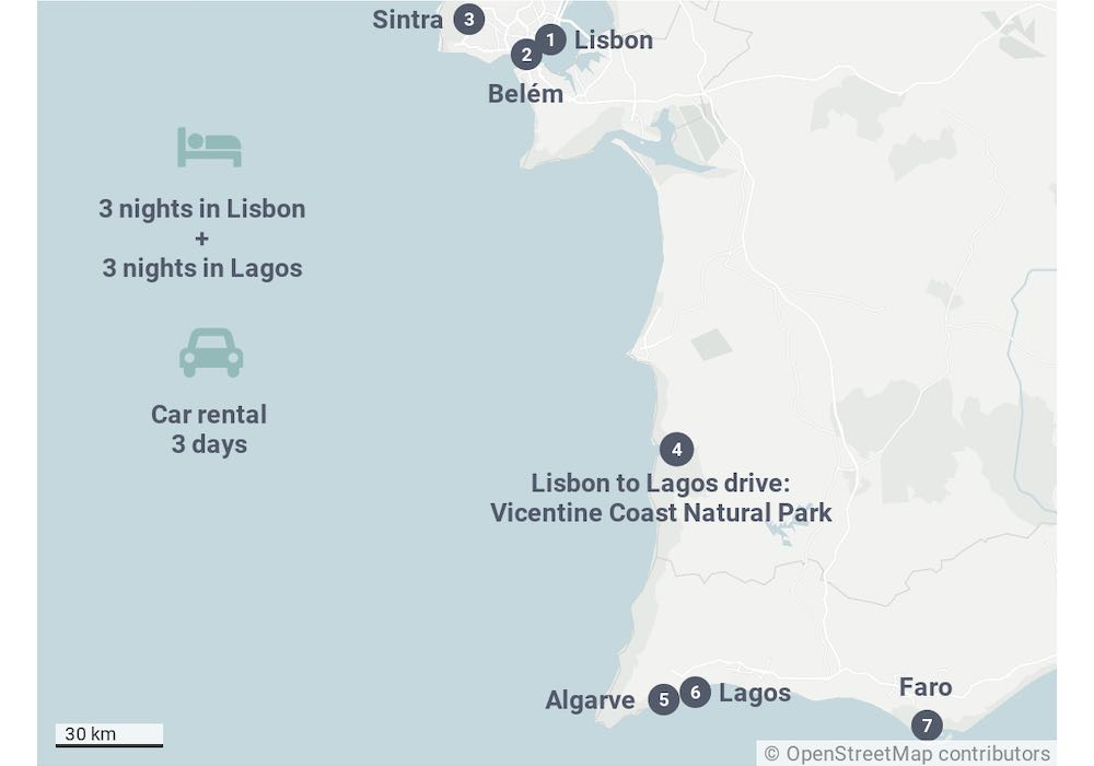Portugal map showing the 7 day Portugal itinerary from Lisbon to Algarve