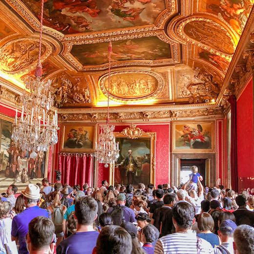 Getting to the Hall of Mirrors requires queueing in line Versailles Palace