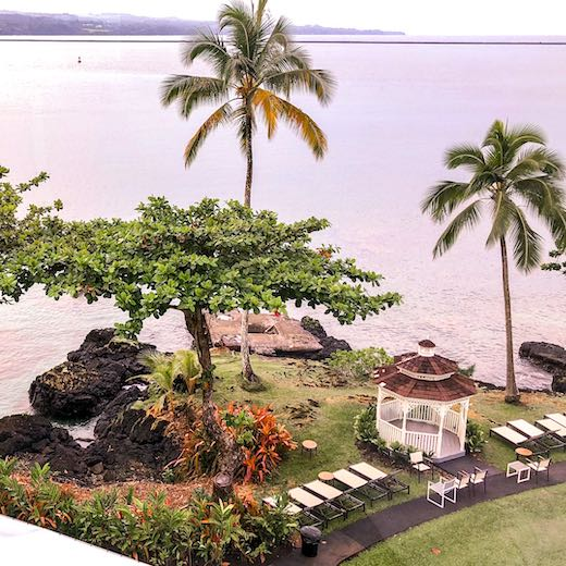 View from the room at the Grand Naniloa Hotel Hilo