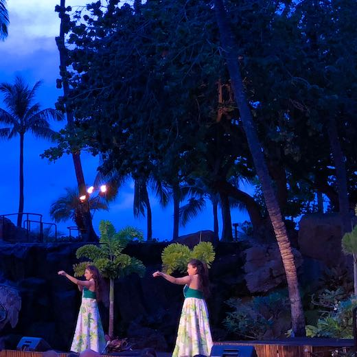 Two hula dancers during a Maui luau