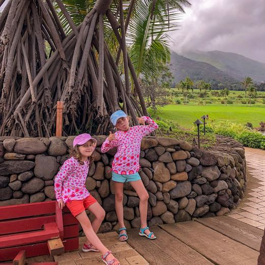 Two little girls at the Maui Tropical Plantation