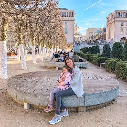Mother and daughter at Mont des Arts, one of the most famous places in Brussels Belgium