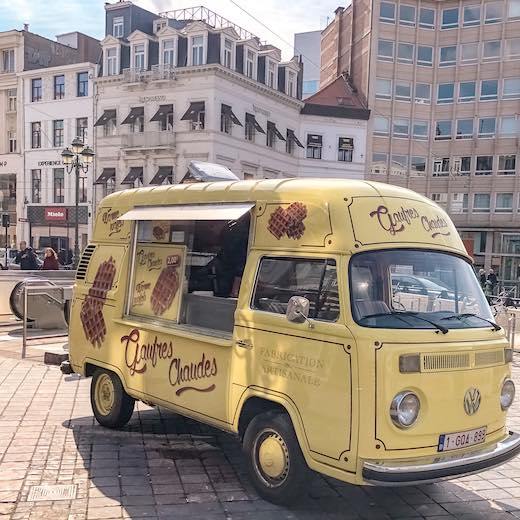 Plenty of food trucks selling waffles in Brussels Belgium