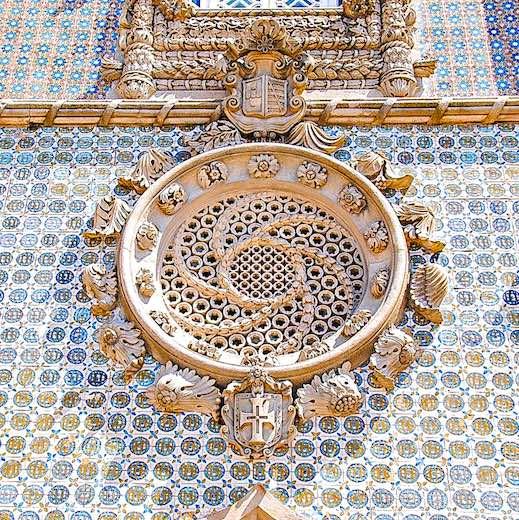 Beautiful azulejo tiles at Pena Palace Sintra Portugal
