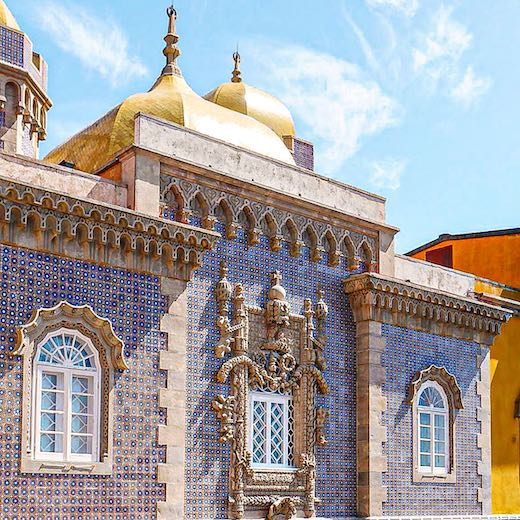 Pena Palace features walls covered with colorful azulejos