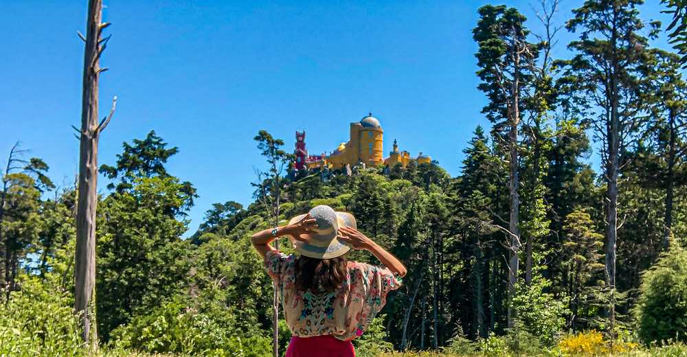 The most famous Sintra Portugal castle is colorful Pena Palace Castle