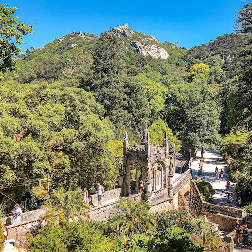 Beautiful views over the Sintra mountains from Quinta da Regaleira