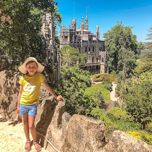 Little girl at the Quinta da Regaleira Palace in Sintra Portugal