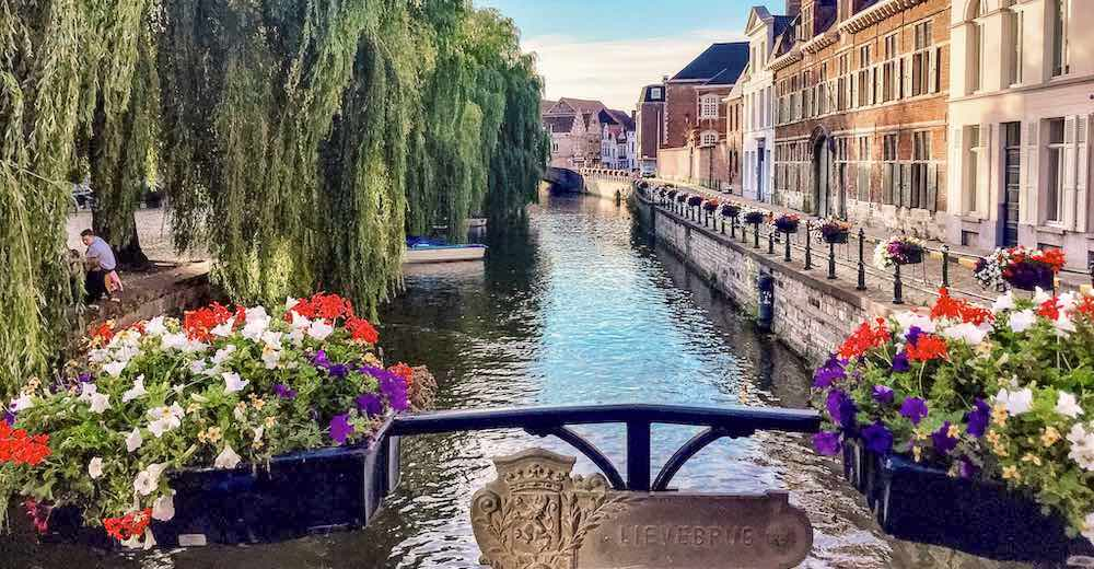 Lievebrug at Prinsenhof in Ghent Belgium
