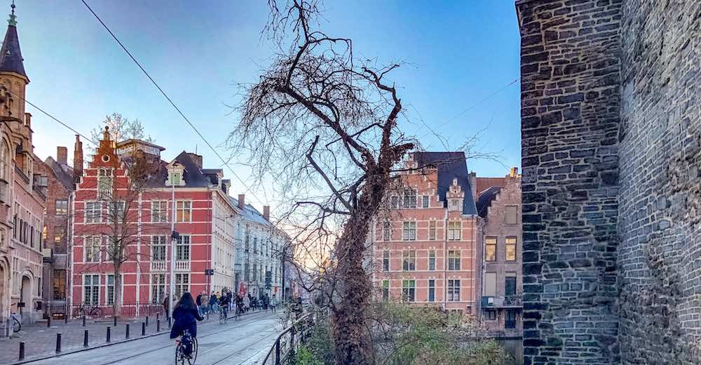 Enchanting view of the center of Ghent Belgium