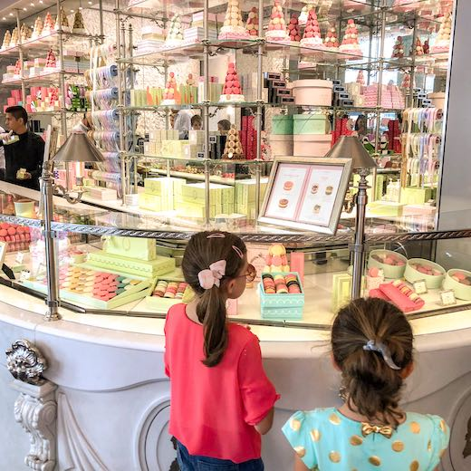 Inside the Laduree store in Paris, the macarons are too hard to resist when you're spending 4 days in Paris