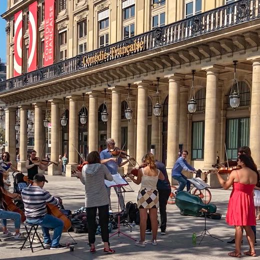 Live music at the steps of the Comedie Francaise at the Royal Palace in Paris