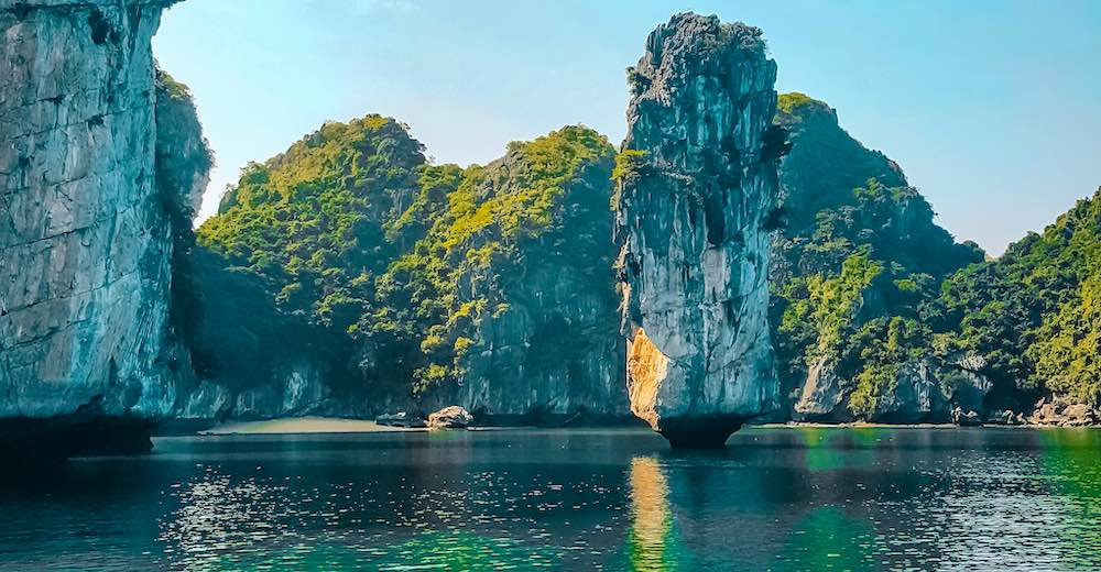 Beautiful llmestone rocks in Vietnam's most popular bay