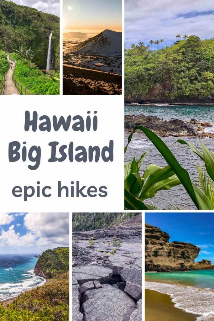 Discover the best hikes on the Big Island of Hawaii: volcano hikes, valley hikes, coastal hikes and waterfall hikes. #hawaii #hikes #hiking #bigisland #hawaiiisland #outdoortravel #island #volcano #waterfall