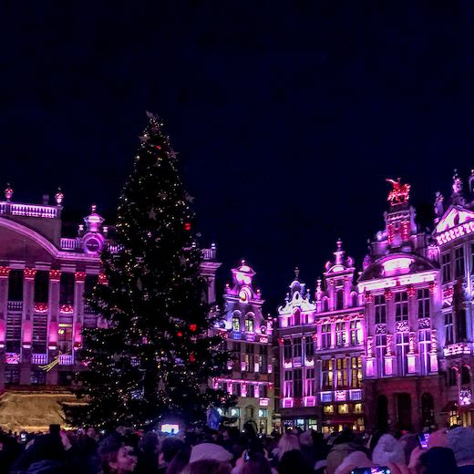Sound and light show at the Christmas market Brussels