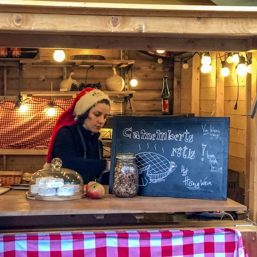 Delicious treats at the Brussels Christmas market food stalls