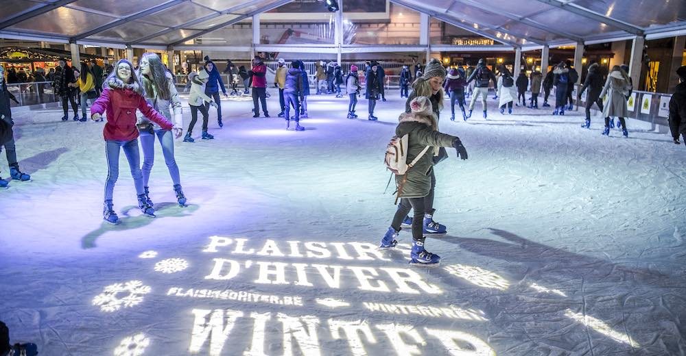 An ice skating rink is part of the Brussels winter fun