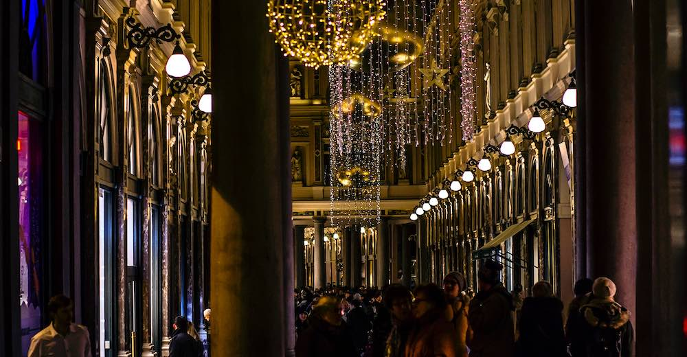 Twinkling lights in the Royal Galeries in Brussels for Christmas