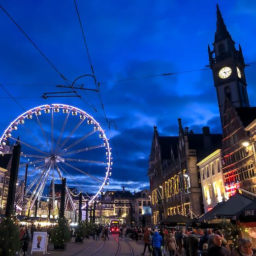 The Christmas market Ghent is one of the other cozy Christmas markets in Belgium