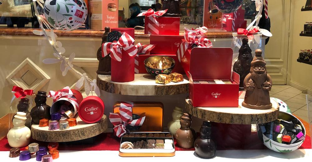Christmas-themed chocolate boxes at the Brussels chocolate shops