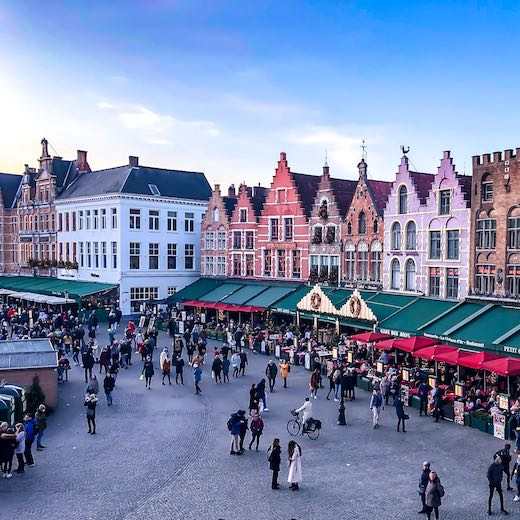 The main Bruges Christmas market is held at the central square called Markt