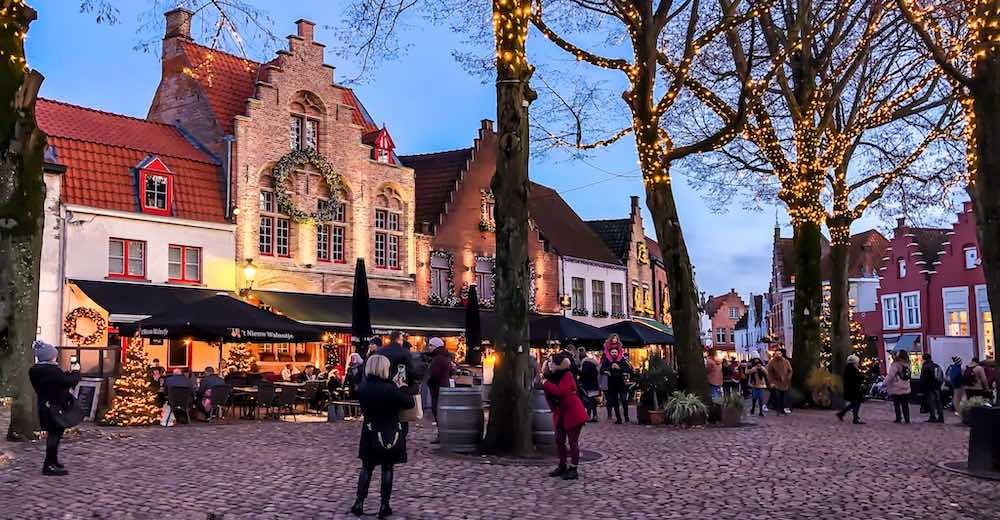Christmas decorations at Walplein in Bruges