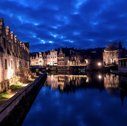 The Ghent canals at night