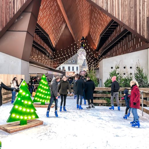The skating rink under the City Pavilion at Botermarkt in Ghent