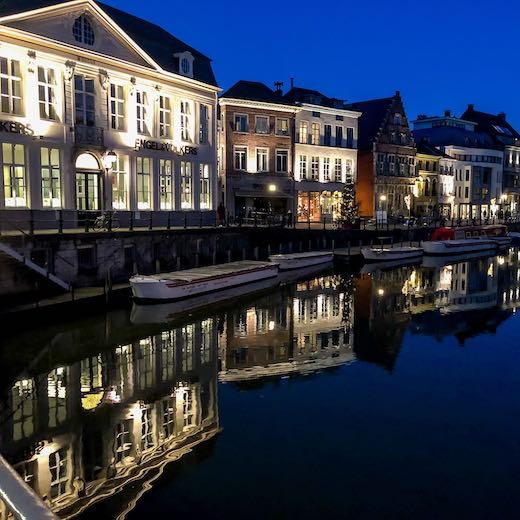 Nighttime impression of Ghent Belgium
