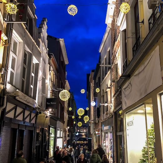 Christmas decorations in one of the shopping streets in Ghent