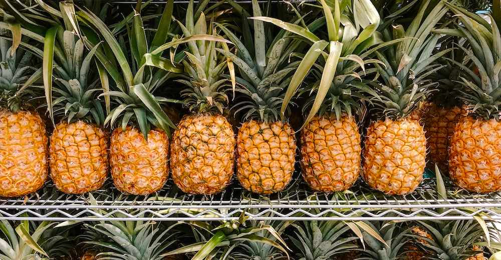 Pineapples at the Farmers Market in downtown Hilo Hawaii