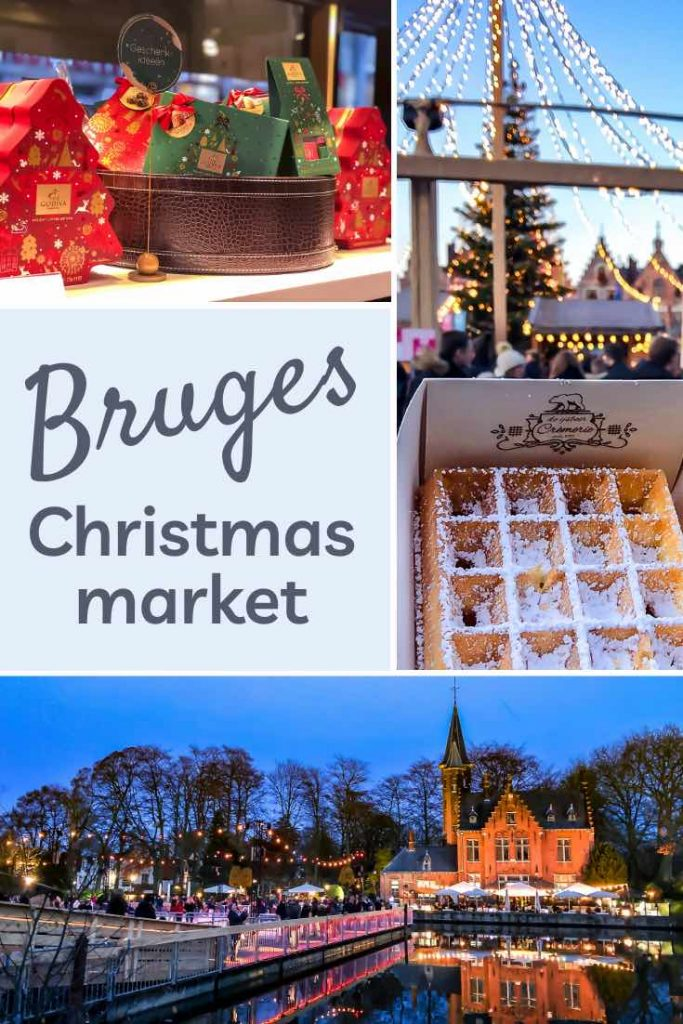 Festively decorated chocolate gift boxes, a waffle and the magical setting of Minnewater during the Bruges Christmas market