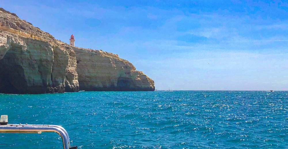 Alfanzina lighthouse in Carvoeiro Algarve as seen from the water