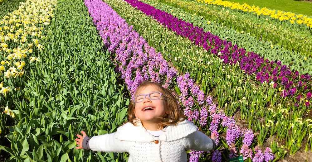 Little girl in the tulip garden Netherlands