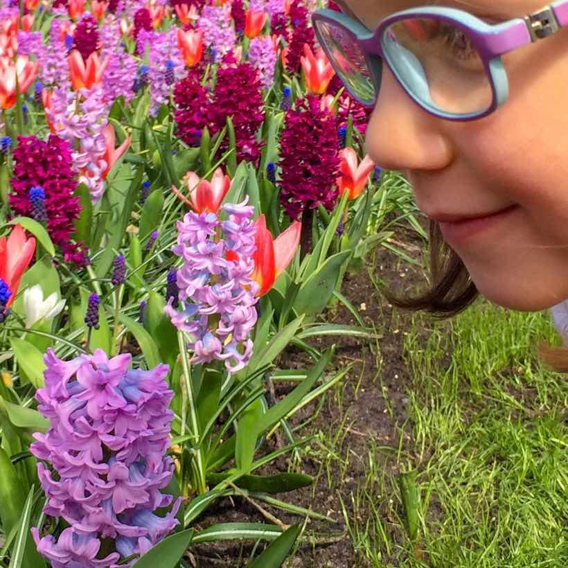 Little girl in Amsterdam garden